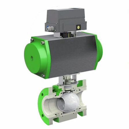 AYE930-O气动O型陶瓷调节球阀Pneumatic V-type ceramic regulating ball valve